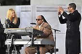 """Washington, DC - January 18, 2009 -- Usher, left, Stevie Wonder, center, and Shakira, right, perform at the """"Today: We are One - The Obama Inaugural Celebration at the Lincoln Memorial"""" in Washington, D.C. on Sunday, January 18, 2009..Credit: Ron Sachs / CNP.(RESTRICTION: NO New York or New Jersey Newspapers or newspapers within a 75 mile radius of New York City)"""