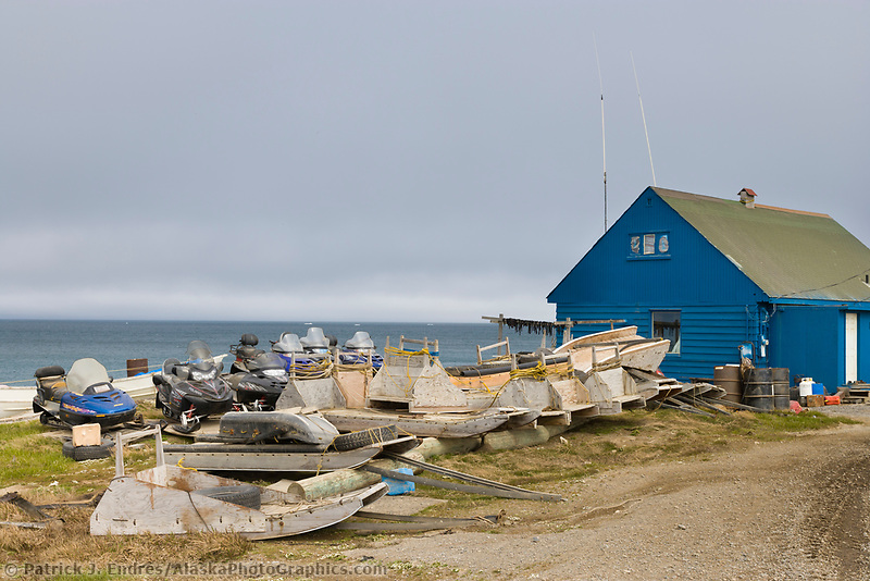 Inupiaq village of Utqiagvik (Barrow), Alaska, along the Arctic ocean.