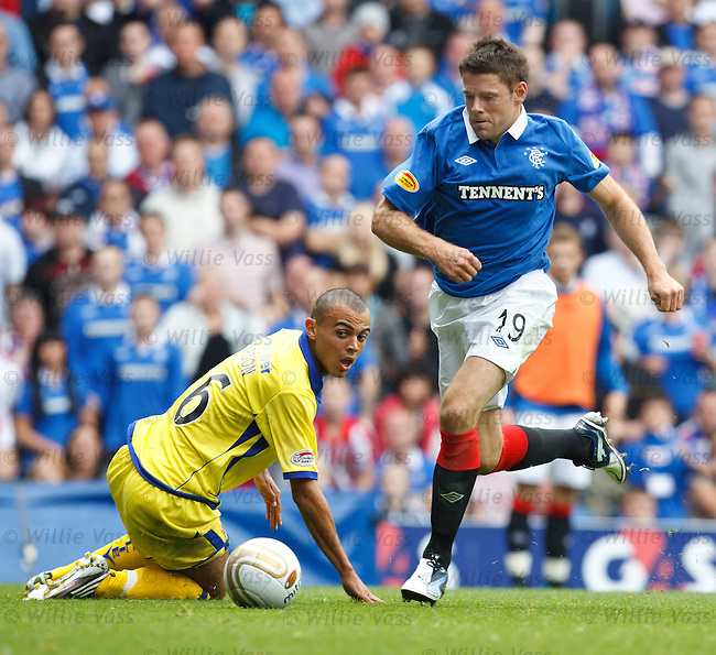 James Beattie wrongfoots defender Ben Gordon
