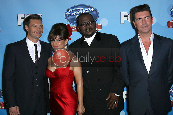 Ryan Seacrest and Randy Jackson with Paula Abdul and Simon Cowell<br />