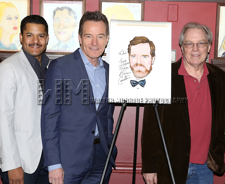Brandon J. Dirden, Bryan Cranston and Michael McKean attend the Sardi's Caricature Unveiling for Bryan Cranston on May 29, 2014 in New York City