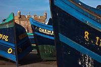 Afrique/Afrique du Nord/Maroc/Essaouira: Barques des pêcheurs et la Skala du Port