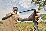 David Suba, 13, hunts small game with a slingshot in the village of Pisak, in Southern Sudan. NOTE: In July 2011, Southern Sudan became the independent country of South Sudan