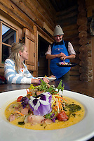 Dolomiti, Voels am Schlern, South Tyrol, June 2007. Franz Mulser cooks some very special dishes in Gostner Schwaige.  Seiser Alm in the Dolomiti is the largest Alpine pasture in the alps.  South Tyrol used to be part of Austria until it became part of Italy after WWI. Photo by Frits Meyst/Adenture4ever.com
