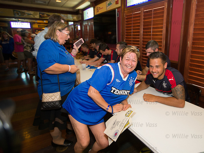 Harry Forrester with Rangers fans