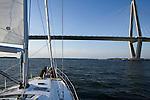 Sailboat Sailing Charleston South Carolina Arthur Ravenel Jr Bridge over the Cooper River