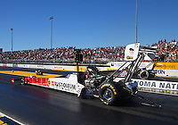 Jul 29, 2016; Sonoma, CA, USA; NHRA top fuel driver T.J. Zizzo during qualifying for the Sonoma Nationals at Sonoma Raceway. Mandatory Credit: Mark J. Rebilas-USA TODAY Sports