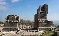 Low angle view of the Arch of Septimius Severus, 205 A.D., in Dougga, Tunisia, pictured on January 31, 2008, in the morning. Dougga has been occupied since the 2nd Millennium BC, well before the Phoenicians arrived in Tunisia. It was ruled by Carthage from the 4th century BC, then by Numidians, who called it Thugga and finally taken over by the Romans in the 2nd century. Situated in the north of Tunisia, the site became a UNESCO World Heritage Site in 1997. The arch of the Roman emperor was constructed in 205 A.D. to commemorate the town's new status of Municipium. This statuts granted self-governance and full rights of Roman citizenship for its people. Picture by Manuel Cohen.