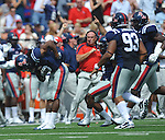 Mississippi's  Charles Sawyer (3) takes a bow after making an interception against Georgia at Vaught-Hemingway Stadium in Oxford, Miss. on Saturday, September 24, 2011. (AP Photo/Oxford Eagle, Bruce Newman)..