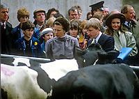 Princess Anne at Enniskillen Agricultural College is briefed about dairy cattle by Clarke Black, president, Young Farmers' Clubs of N Ireland. The event was one of several during a May 1985 Royal Visit to N Ireland. 19850503b.<br />