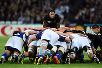 Julian Savea of New Zealand watches a scrum. Rugby World Cup Pool C match between New Zealand and Namibia on September 24, 2015 at The Stadium, Queen Elizabeth Olympic Park in London, England. Photo by: Patrick Khachfe / Onside Images