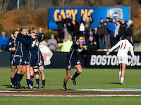 Mandy Laddish (2) of Notre Dame celebrates after the final of the NCAA Women's College Cup at WakeMed Soccer Park in Cary, NC.  Notre Dame defeated Stanford, 1-0.