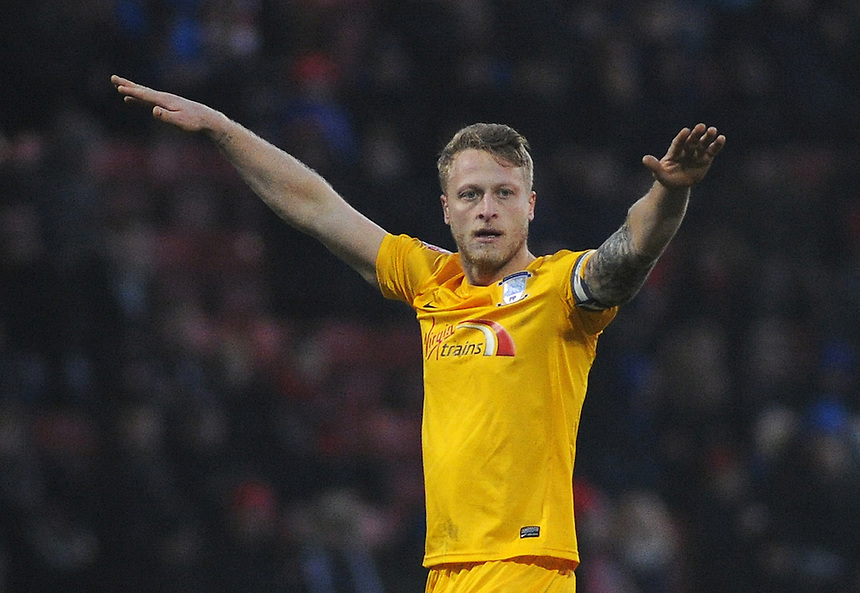Preston North End's Tom Clarke in action during todays match  <br /> <br /> Photographer Kevin Barnes/CameraSport<br /> <br /> Football - The Football League Sky Bet League One - Crewe Alexandra v Preston North End - Sunday 28th December 2014 - Alexandra Stadium - Crewe<br /> <br /> &copy; CameraSport - 43 Linden Ave. Countesthorpe. Leicester. England. LE8 5PG - Tel: +44 (0) 116 277 4147 - admin@camerasport.com - www.camerasport.com