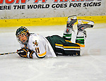 10 January 2009: University of Vermont Catamount forward Chris Atkinson, a Sophomore from Sparta, NJ, is knocked to the ice against the Boston College Eagles during the second game of a weekend series at Gutterson Fieldhouse in Burlington, Vermont. The Catamounts rallied from an early 2-0 deficit to defeat the visiting Eagles 4-2. Mandatory Photo Credit: Ed Wolfstein Photo