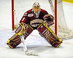 9 January 2009: Boston College Eagles' goaltender John Muse, a Sophomore from East Falmouth, MA, is set for a third period faceoff during the first game of a weekend series against the University of Vermont Catamounts at Gutterson Fieldhouse in Burlington, Vermont. The Catamounts scored with one second remaining in regulation time to earn a 3-3 tie with the visiting Eagles. Mandatory Photo Credit: Ed Wolfstein Photo