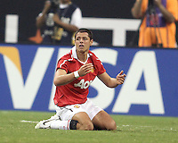 Javier Hernandez #14 of Manchester United after being fouled during the 2010 MLS All-Star match against the MLS All-Stars at Reliant Stadium, on July 28 2010, in Houston, Texas .MANU won 5-2.