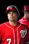 6 June 2010: Washington Nationals' catcher Ivan Rodriguez walks the dugout while on the DL during a game against the Cincinnati Reds at Nationals Park in Washington, DC. The Reds edged out the Nationals 5-4 in a ten inning game. Mandatory Credit: Ed Wolfstein Photo