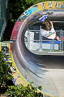 Mathieux Ledoux rolls on the ceilling of the tunnel at the Big O