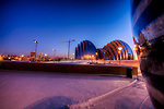 After a heavy mid-January 2011 snowfall I went for an evening dusk shot of the Kauffman Center, taken from the sculptures at the Convention Center Ballroom entrance.