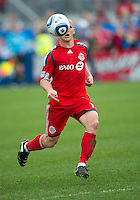 22 May 2010: Toronto FC forward Chad Barrett #19 keeps his eye on the ball during a game between the New England Revolution and Toronto FC at BMO Field in Toronto..Toronto FC won 1-0.....