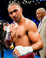 "NEW YORK, NY - MARCH 04: Undefeated WBA and WBC Welterweight Champion Keith ""One Time"" Thurman after defeating Danny ""Swift"" Garcia in a split decision at Barclays Center on  March 4, 2017 in the borough of Brooklyn, New York City.. (Photo by Douglas DeFelice/Eclipse Sportswire/Getty Images)"