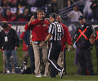 Ohio State Buckeyes head coach Urban Meyer yells at a ref after they reviewed the Hyde touchdown during the second half of the NCAA football game between Ohio State and Northwestern at Ryan Field in Evanston, Illinois on Saturday, October 5, 2013. (Columbus Dispatch photo by Jonathan Quilter)