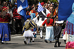 Greek Parade in New York City. People in traditional clothing walk in the Greek Parade in New York City.