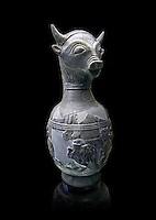 6th century BC Etruscan Bull headed bucherro style oinochoe, or wine jug,  made in Chuisi and excavated from the necropolis de Fonte Rotella, inv 3190, National Archaeological Museum Florence, Italy
