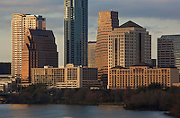 Close up of the hotels that line the shore of Lady Bird Lake in Austin, Texas
