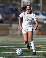 College of St Rose forward Amanda Vasquez (7) brings the ball forward. . In 2012 NCAA Division II Women's Soccer Championship Tournament First Round, College of St Rose (white) defeated Wilmington University (black), 3-0, on Ronald J. Abdow Field at American International College on November 9, 2012.