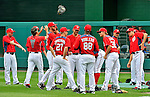 5 September 2011: Washington Nationals pitchers stretch prior to a game against the Los Angeles Dodgers at Nationals Park in Los Angeles, District of Columbia. The Nationals defeated the Dodgers 7-2 in the first game of their 4-game series. Mandatory Credit: Ed Wolfstein Photo