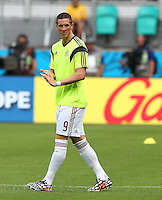 Fernando Torres of Spain warms up after being named as a substitute