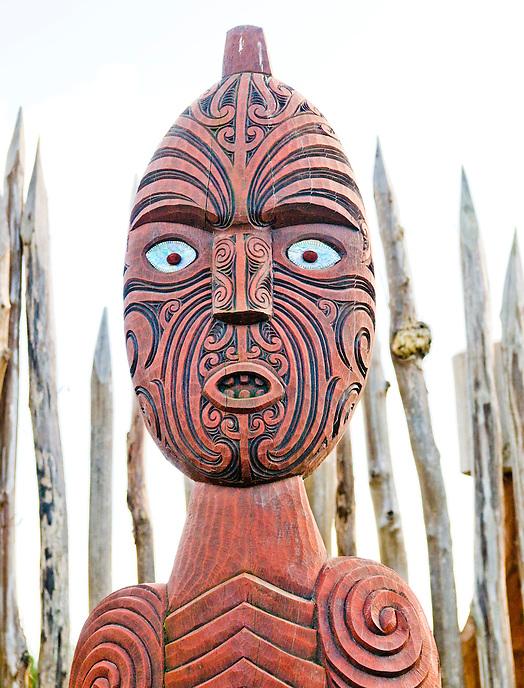 Carved Maori figure, Hamilton Gardens, New Zealand.