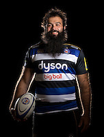 Kane Palma-Newport poses for a portrait in the 2015/16 home kit during a Bath Rugby photocall on September 8, 2015 at Farleigh House in Bath, England. Photo by: Patrick Khachfe / Onside Images