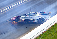 May 22, 2016; Topeka, KS, USA; NHRA funny car driver Tim Wilkerson crashes during the Kansas Nationals at Heartland Park Topeka. Wilkerson was uninjured in the accident. Mandatory Credit: Mark J. Rebilas-USA TODAY Sports