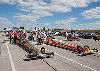 Sep 3, 2016; Clermont, IN, USA; NHRA top fuel driver Leah Pritchett (left) alongside Doug Kalitta during qualifying for the US Nationals at Lucas Oil Raceway. Mandatory Credit: Mark J. Rebilas-USA TODAY Sports