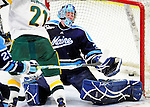30 January 2010: University of Maine Black Bears' goaltender Scott Darling, a Sophomore from Lemont, IL, gives up a third period goal to the University of Vermont Catamounts at Gutterson Fieldhouse in Burlington, Vermont. The Black Bears and the Catamounts played to a 4-4 tie in the second game of their America East weekend series. Mandatory Credit: Ed Wolfstein Photo