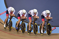 Pictures by SWpix.com - 02/03/2016 - Cycling - 2016 UCI Track Cycling World Championships, Day 1 - Lee Valley VeloPark, London, England - Mens Team Pursuit - Great Britain - <br /> DIBBEN Jonathan, BURKE Steven, DOULL Owain, WIGGINS Bradley