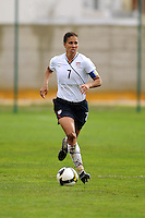Shannon Boxx carries the ball upfield. The USA defeated Norway 2-1 at Olhao Stadium on February 26, 2010 at the Algarve Cup.