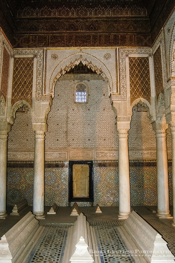 Morocco, Marrakesh. The Saadian tombs in Marrakech date back from the time of the great sultan Ahmad I al-Mansur.