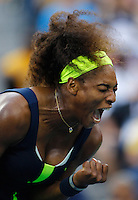 Serena Williams, USA, celebrates winning a point while defeating Victoria Azarenka, Belarus, in the Women's SIngles Final during the US Open Tennis Tournament, Flushing, New York. USA. 9th September 2012. Photo Tim Clayton