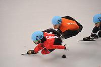 OLYMPICS: SOCHI: Iceberg Skating Palace, 10-02-2014, Shorttrack, 1500m Men, Halve finale, Charles Hamelin (#205 | CAN), Sjinkie Knegt (#248 | NED), ©foto Martin de Jong