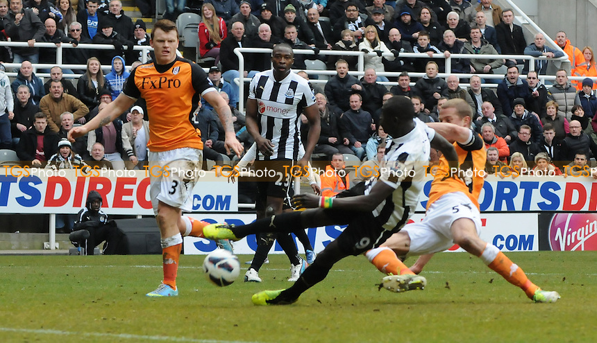 Papiss Demba Cissé of Newcastle United scores a late winner - Newcastle United vs Fulham - Barclays Premier League Football at St James Park, Newcastle upon Tyne - 07/04/13 - MANDATORY CREDIT: Steven White/TGSPHOTO - Self billing applies where appropriate - 0845 094 6026 - contact@tgsphoto.co.uk - NO UNPAID USE