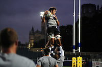Alex Humfrey of Bath United wins the ball at a lineout during the pre-match warm-up. Aviva A-League match, between Bath United and Bristol United on September 19, 2016 at the Recreation Ground in Bath, England. Photo by: Patrick Khachfe / Onside Images