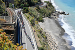 The peloton lined out during Stage 4 of the 100th edition of the Giro d'Italia 2017, running 181km from Cefalu to Mount Etna, Sicily, Italy. 9th May 2017.<br /> Picture: LaPresse/Fabio Ferrari | Cyclefile<br /> <br /> <br /> All photos usage must carry mandatory copyright credit (&copy; Cyclefile | LaPresse/Fabio Ferrari)