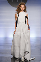 Model walks runway in an outfit by Samantha Kirshner, during the Future of Fashion 2017 runway show at the Fashion Institute of Technology on May 8, 2017.