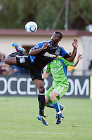 Brandon McDonald controls the ball. The Seattle Sounders defeated the San Jose Earthquakes 1-0 in the second annual Heritage Cup at Buckshaw Stadium in Santa Clara, California on July 31st, 2010.