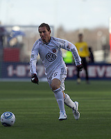 DC United midfielder Kurt Morsink (6) brings the ball forward. In a Major League Soccer (MLS) match, the New England Revolution defeated DC United, 2-1, at Gillette Stadium on March 26, 2011.