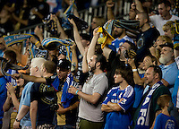 Fans celebrate the goal of MLS All-Star Chris Pontius (13) during the game at PPL Park in Chester, PA.  The MLS All-Stars defeated Chelsea, 3-2.