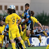 Ryan Johnson (9) tries for the header in the mix of Columbus players. The San Jose Earthquakes tied the Columbus Crew 2-2 at Buck Shaw Stadium in Santa Clara, California on June 2nd, 2010.